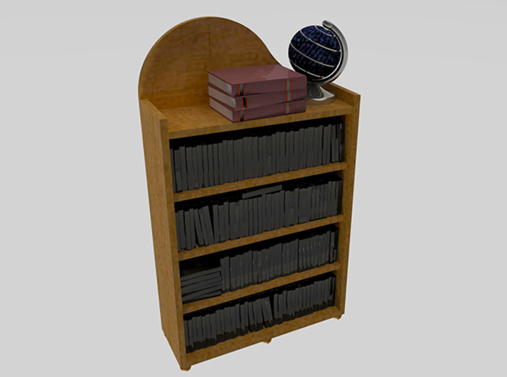 Dollhouse 1:24 bookshelf w/ novels, globe, books 3d printed All accessories included. Coloring required.