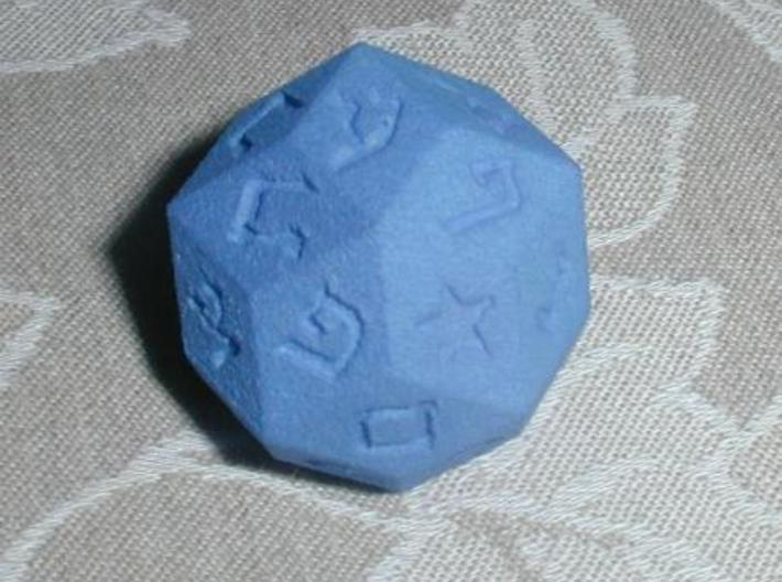 Hebrew 30-sided die 3d printed Printed in Summer Blue Strong & Flexible