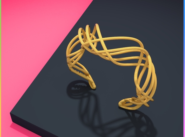 DNA bracelet for her 3d printed DnA | Bracelet matte gold finishing