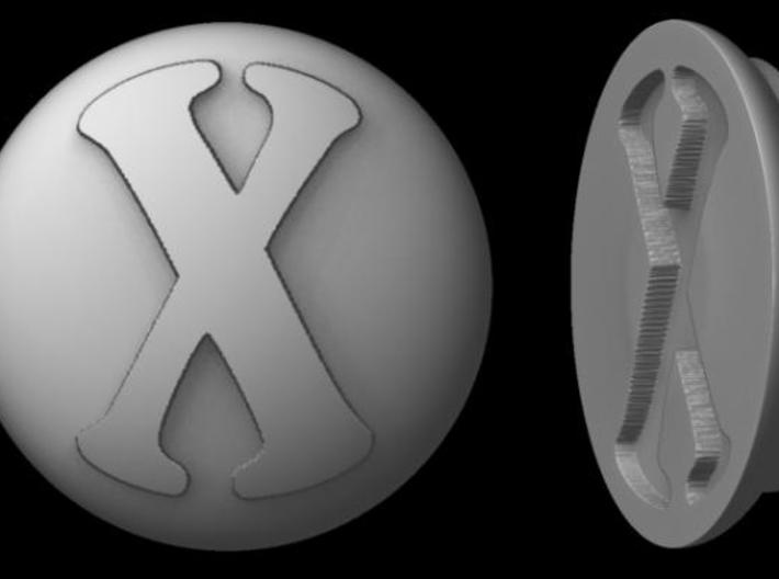 """Paperweight - """"X"""" 3d printed Rendered image"""