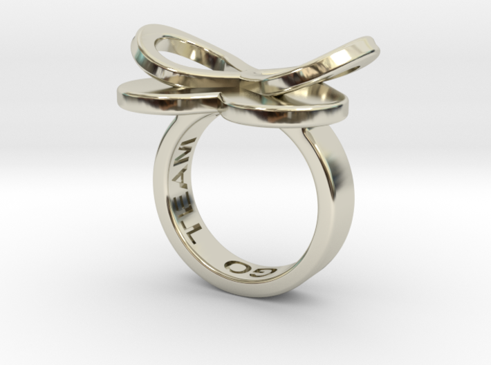 AMOUR in 14k white gold 3d printed