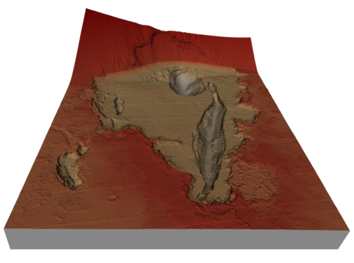 Mars Map: Depression At Base, Red 3d printed