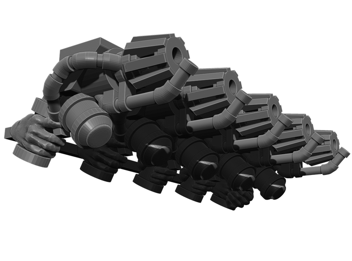 Flame Thrower Pistol Weapons Pack 3d printed