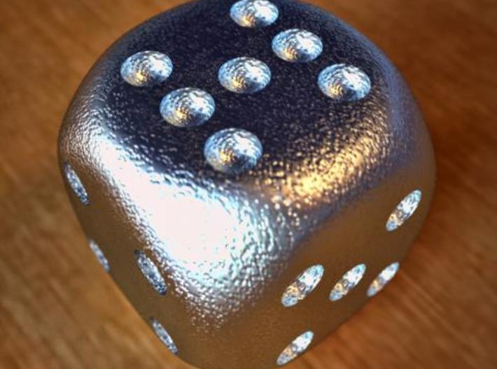 Lucky 7 Dice - hollow 3d printed Lucky 7 Dice Stainless Steel