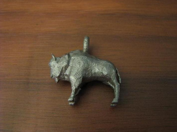 Bison Pendant 3d printed Stainless steel bison pendant--lasting strength.