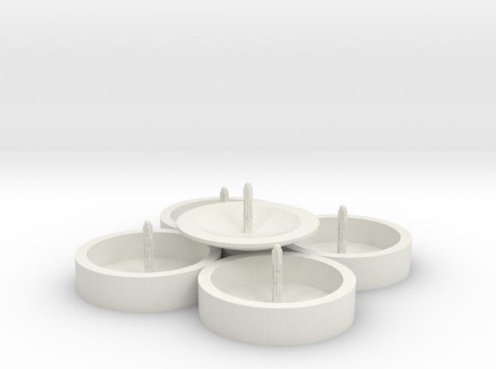 Zierbrunnen rund fünfgeteilt mit 5 Fontainen 3d printed
