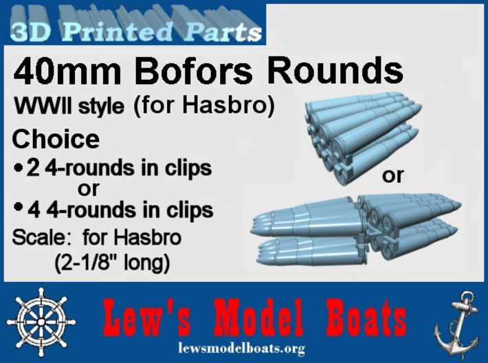 Hasbro 40mm Bofors ammo sets of 2 or 4 3d printed