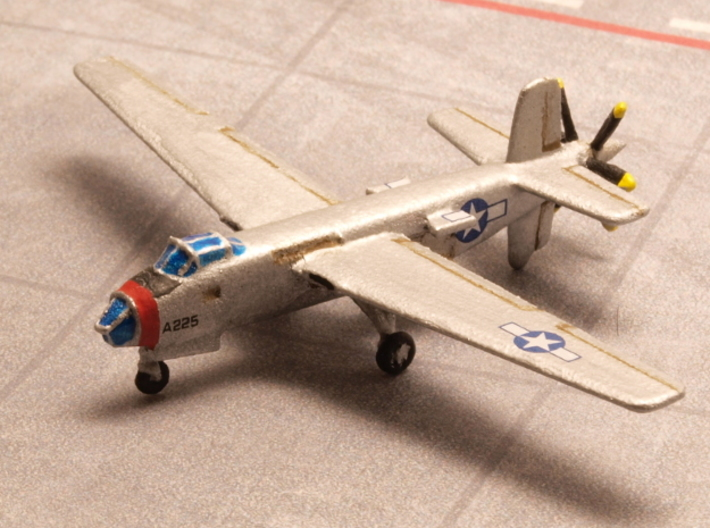 Douglas XB-42 Mixmaster pair 1/285 6mm 3d printed Fast bomber Douglas XB-42 Mixmaster painted as prototype 43-50225 as of 1944
