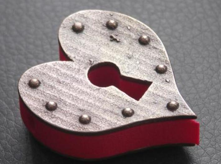 Heart Keyhole Pendant 3d printed Steampunk inspired.