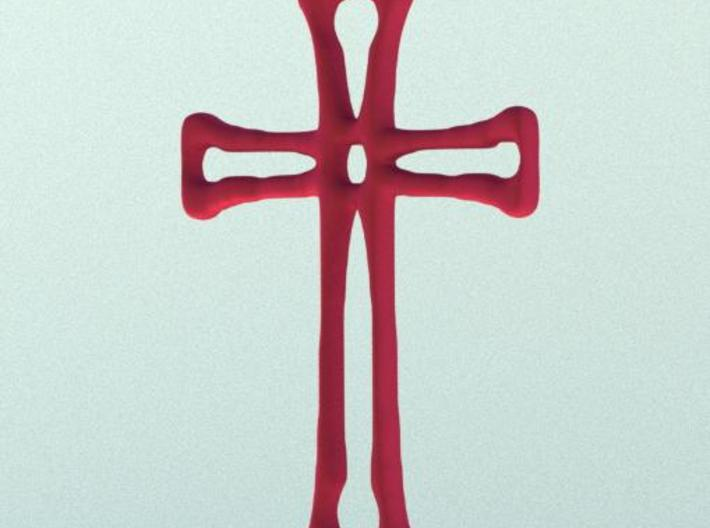 Cross Pendant (6cms) 3d printed Render in red