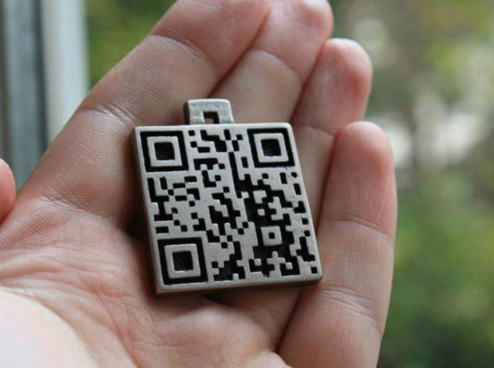 QR steel tag / business card 3d printed decode me!!