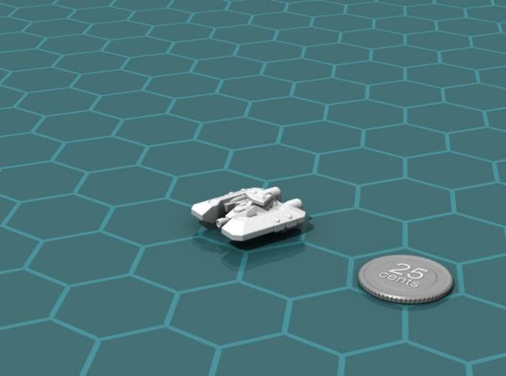 Badakh Frigate 3d printed Render of the model, with a virtual quarter for scale.