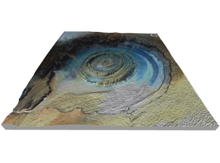 """Richat Structure Map: 9.5"""" 3d printed"""