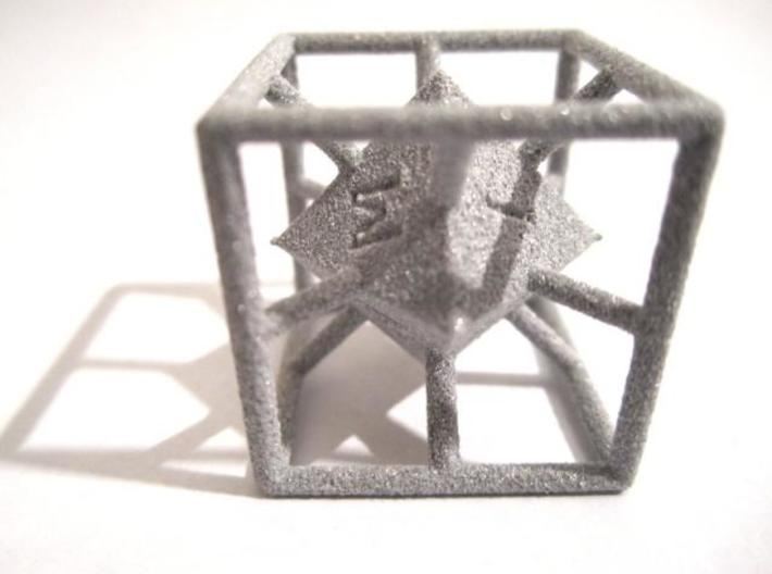 4-Letter Words D6 Cage Dice 3d printed Alumide (close-up)