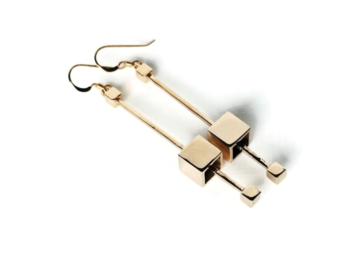 Dangling Cube Earrings - Minimal Geometric Jewelry 3d printed Dangling cube earrings in bronze