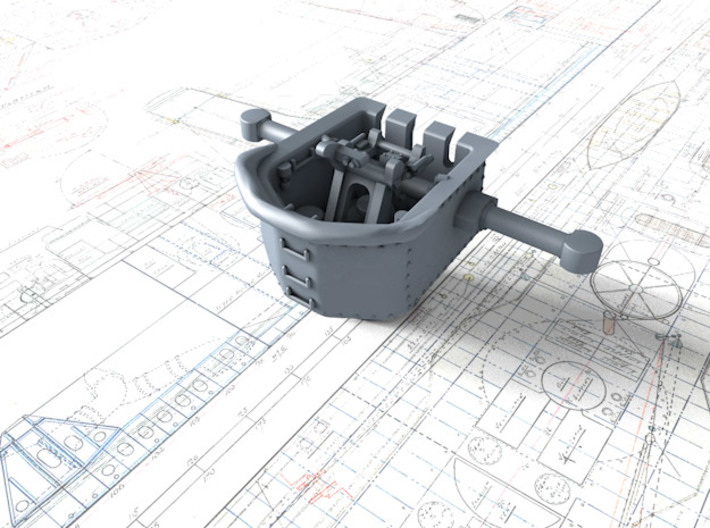 1/700 RN WW2 HACS MKII Open (4) 3d printed 3d render displaying product detail