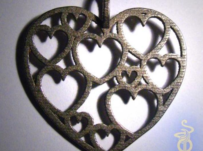 Heart of hearts pendant  3d printed 1