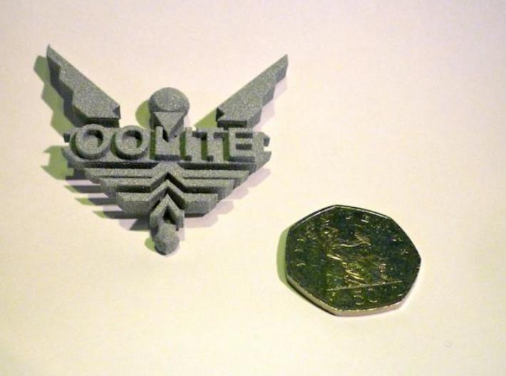 Two Inch Oolite Badge 3d printed Rendered in Alumide