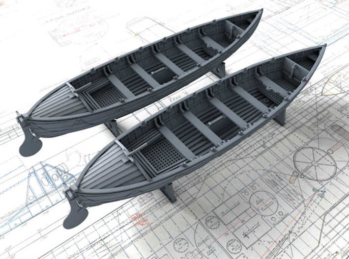 1/72 Royal Navy 27ft Whaler x2 3d printed 3d render showing product detail