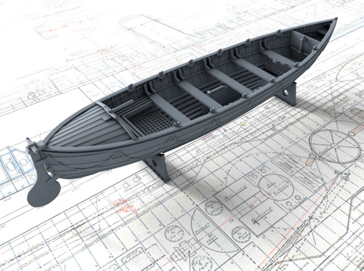 1/72 Royal Navy 27ft Whaler 3d printed 3d render showing product detail