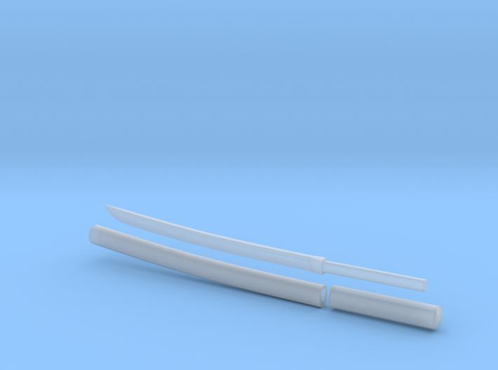Wakizashi - 1:6 scale - Curved Blade - Plain 3d printed