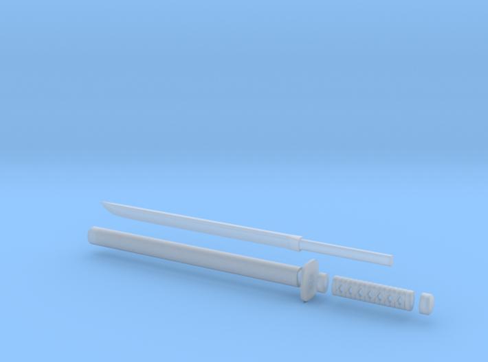 Wakizashi - 1:6 scale - Straight Blade - Tsuba 3d printed