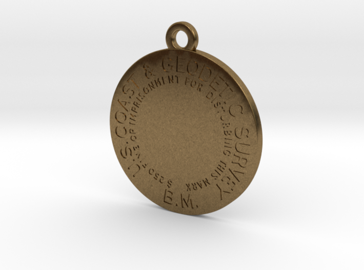 Benchmark Keychain - early flat type with no cente 3d printed