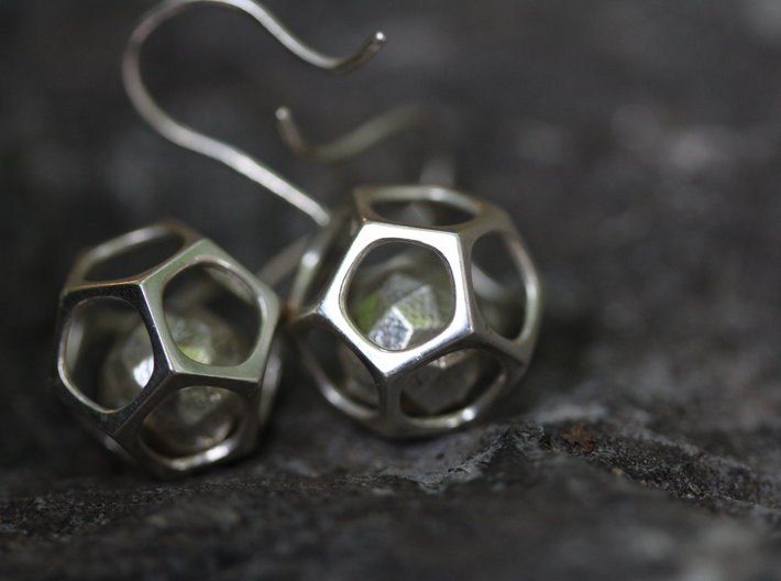 Dodecahedron earrings 3d printed