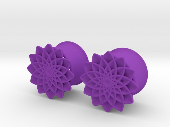 """5/8"""" ear plugs 16mm - Flowers 12 petals 3d printed"""