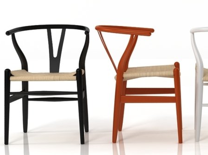 Wishbone Chair in 1:12 and 1:24 3d printed painted in various colors