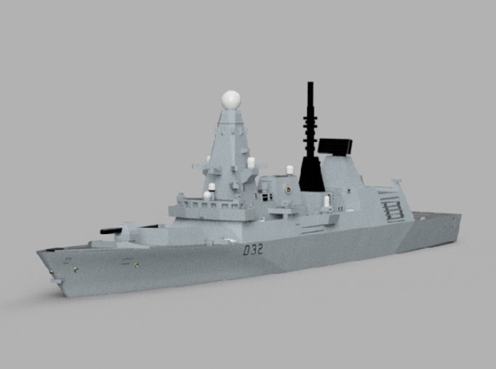 1/2000 HMS Daring 3d printed Computer software render.The actual model is not full color.