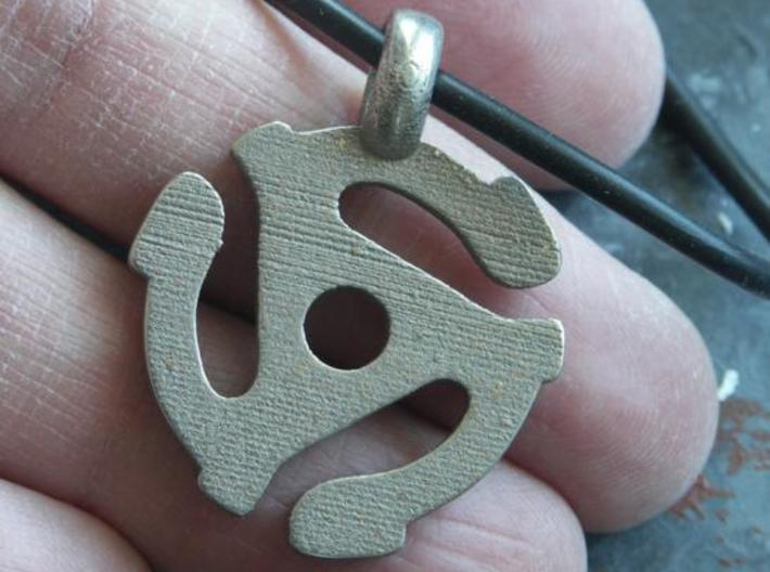 45 RPM Record Insert Pendant 3d printed Stainless Steel