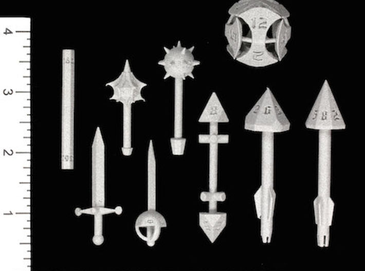 Greataxe D12 3d printed Image courtesy of Kevin Cook, www.dicecollector.com .  Other weapons also shown.