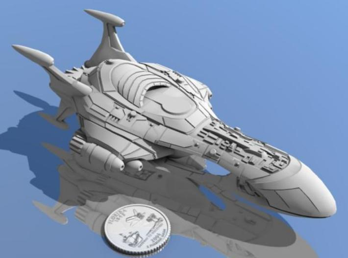 "Blasphemous Geometry 3d printed Supercarrier ""Blasphemous Geometry"" shown with Florida quarter for scale."
