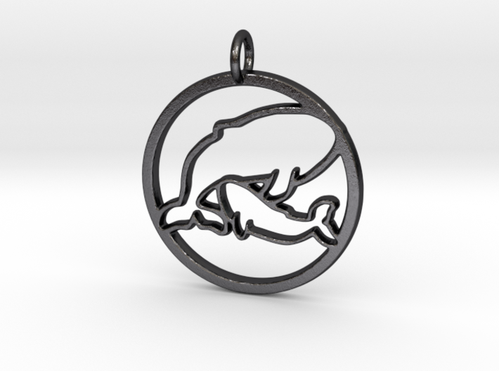 Nursing Baby Whale with Mama; pendant 3d printed Polished Grey Steel