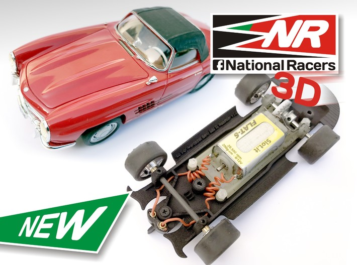 3D Chassis - Top Slot Mercedes Benz 300SL Roadster 3d printed Chassis compatible with Top Slot model (slot car and other parts not included)