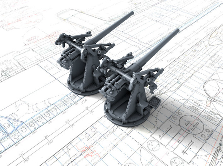 "1/200 12-pdr 3""/45 (76.2 cm) 20cwt Guns x2 3d printed 3d render showing product detail"