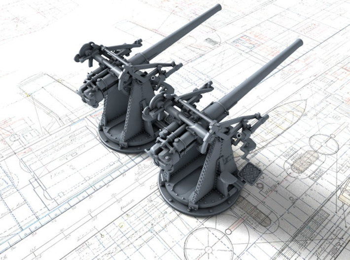 """1/96 12-pdr 3""""/45 (76.2 cm) 20cwt Guns x2 3d printed 3d render showing product detail"""