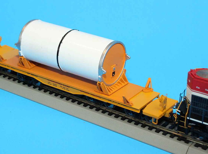 N scale 1/160 NASA SRB Space Shuttle sections 3d printed Photo of one HO SRB section with cradles.