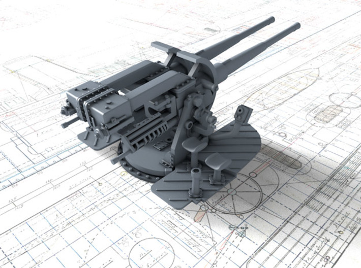 "1/144 Tribal Class 4.7"" MKXII CPXIX Twin Mounts x4 3d printed 3d render showing gun detail"