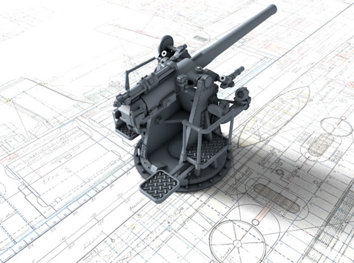 """1/96 RN 4""""/45 (10.2 cm) QF MKV MKIII x4 3d printed 3d render showing product detail"""