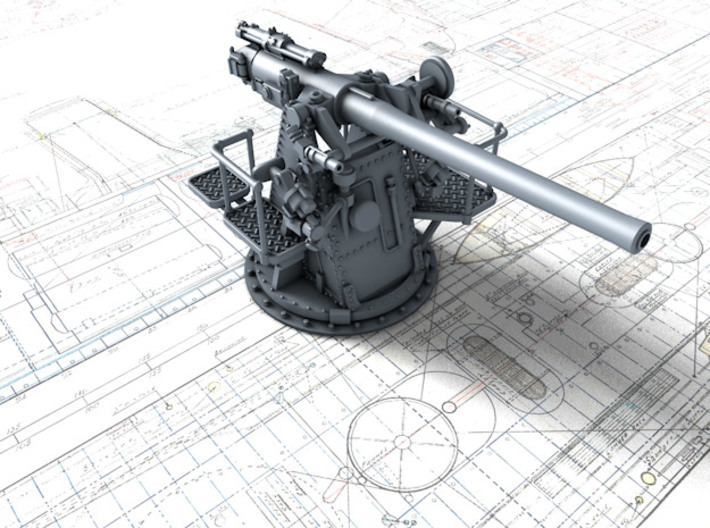 "1/200 RN 4""/45 (10.2 cm) QF MKV MKIII x4 3d printed 3d render showing product detail"