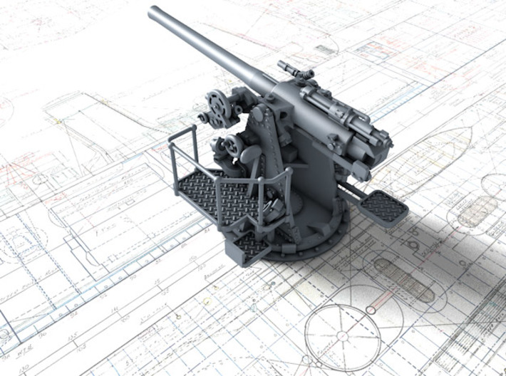 "1/128 RN 4""/45 (10.2 cm) QF MKV MKIII x4 3d printed 3d render showing product detail"