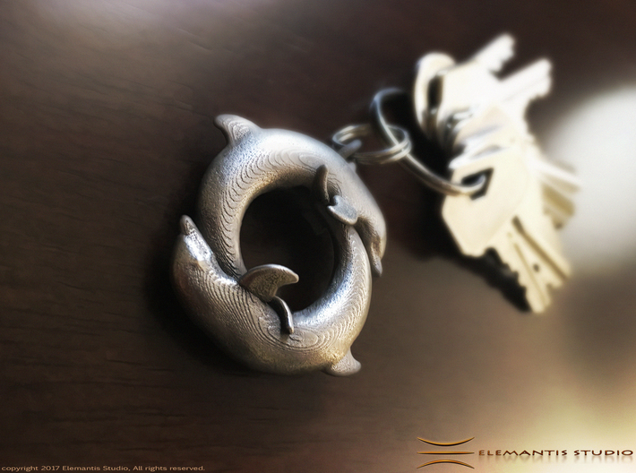 Piscean / Yin Yang Dolphin Totem Keychain 4.5cm 3d printed polished nickel steel example