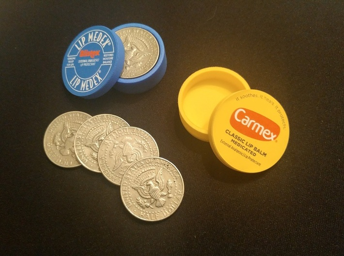 Okito Boston Set USA Half Dollar 3d printed Add a sticker and viola, magic lip balm boxes! (coins and sticker not included)