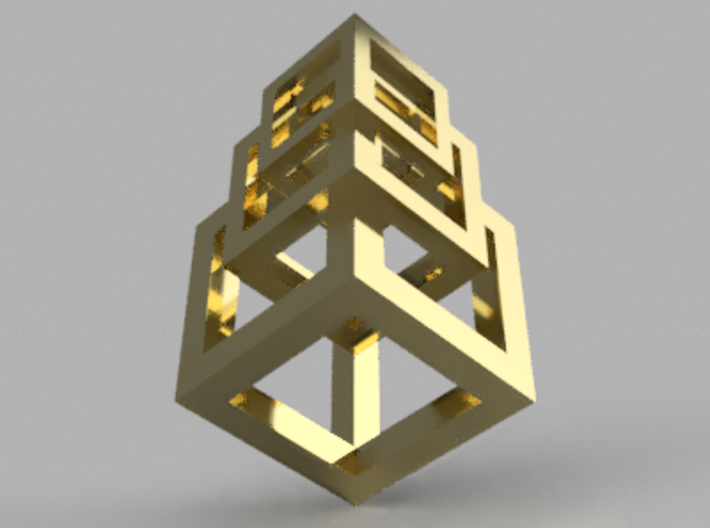 3 interlaced cubes necklace  3d printed