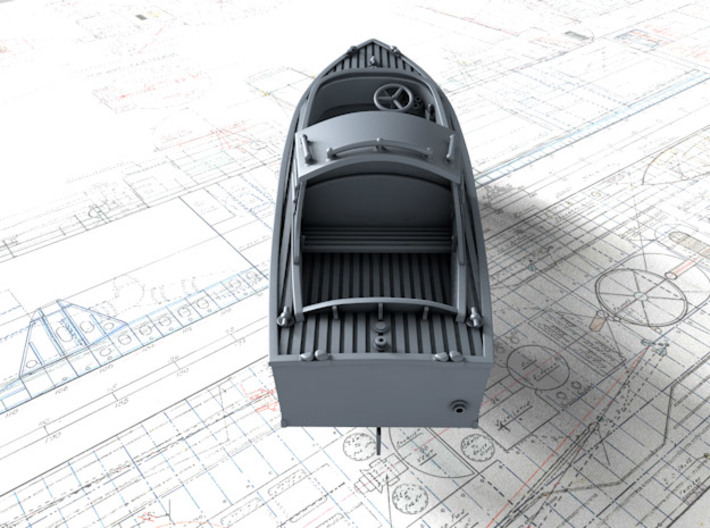 1/96 Royal Navy 16ft Fast Motor Boat 3d printed 3d render showing set detail