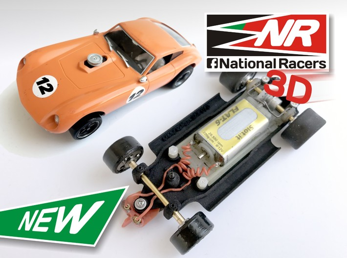 3D Chassis - MRRC Kellison J4-R - Inline 3d printed Chassis compatible with MRRC model (slot car and other parts not included)