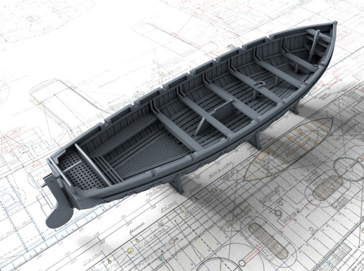 1/200 Scale Royal Navy 32ft Cutter x1 3d printed 3d render showing set detail