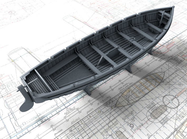 1/96 Scale Royal Navy 32ft Cutter x1 3d printed 3d render showing set detail